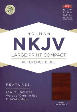 NKJV Large Print Compact Reference Bible-Brown LeatherTouch