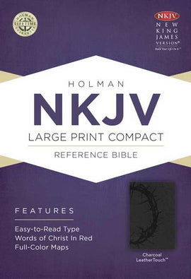 NKJV Large Print Compact Reference Bible-Charcoal LeatherTouch
