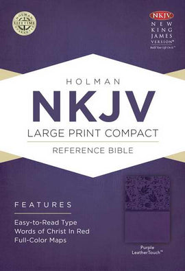NKJV Large Print Compact Reference Bible-Purple LeatherTouch