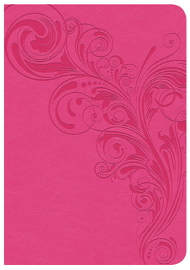 CSB Large Print Compact Reference Bible-Pink LeatherTouch