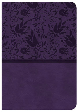 CSB Large Print Compact Reference Bible-Purple LeatherTouch Indexed