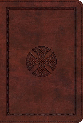 ESV Compact Bible/Large Print-Brown Mosaic Cross Design TruTone
