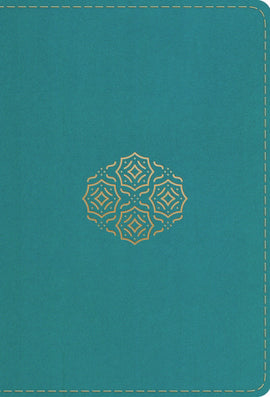 ESV Compact Bible/Large Print-Teal Bouquet Design TruTone