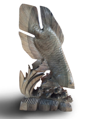 Wood carving - Fisherman Sculpture - Excellent Gift for Fisherman - 54 cm