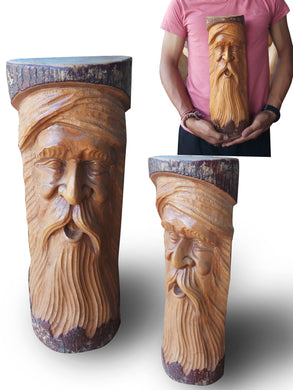Wooden Statue / Old Man's Face - 40 cm