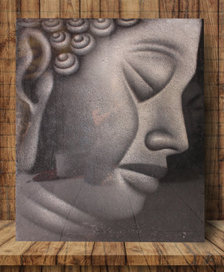Buddha painting / Original face buddha wall decor - 90 cm