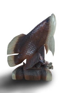 Wood Carving Statue Home Decoration Special Arowana Flying Fish Statue - 43 cm