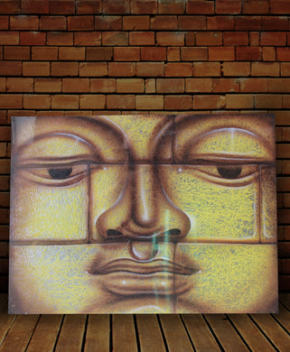 Buddha painting / original small face buddha wall decor - 50 cm