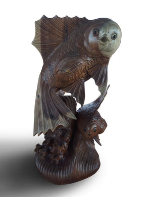 Wood carving puffing fish - 40 cm