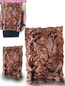 Wall decoration / wood carving jungle style - 50 cm
