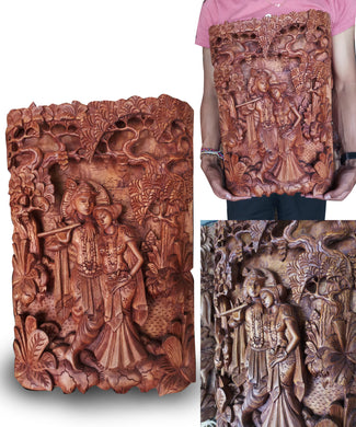 Wall decoration / wood carving / Sri Krishna - 50 cm