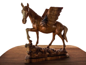 Angel Horse Wood Statue Home Accesories Decor Style Wood Carving 40 cm