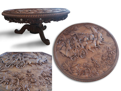 Wood table / Table carving story - 115 cm