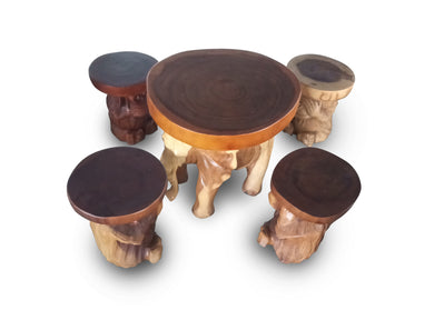 Wood table and stool home decor - elephant design 60 cm