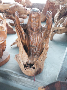 Wood statue / jesus wood carving - 60 cm