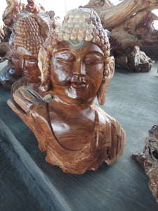 Buddha statue / Wood carving budha head decoration - 65 cm