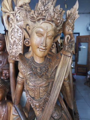 Wood statue dewi saraswati decoration -180 cm