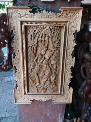 Wall decoration wood panel carving decipt rama and shita __70 cm