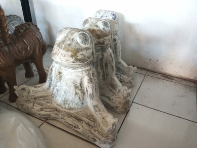 Frog statue meditation antique home - garden - patio decoration 40 cm