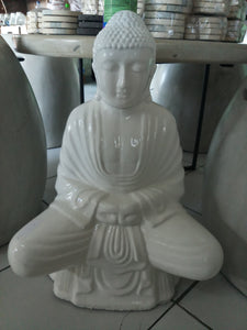 Budhha Statue Home Interior Decoration White Gloss 52 cm
