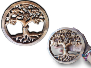 Wall decoration wood carving tree - 20 cm