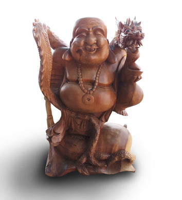 Buddha & Dragon Wood Statue Sculpture home decor and home accesories - 50 cm