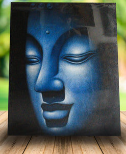 Buddha painting / original blue face budha - 120 cm