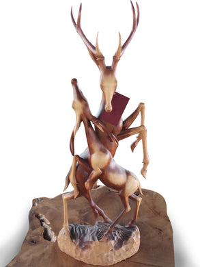 Wood Carving Deer - Sportsman Sculpture - Haunter Gift - Handmade Deer - 80 cm