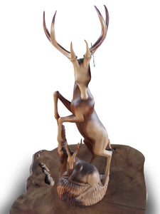 Wood carving deer small room accesories - 80 cm