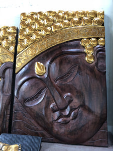 Buddha Wooden Face Panel / statue 02 - Wood decor for walls