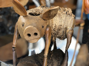 Pig statue made from bamboo roots size 29cm
