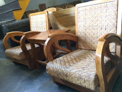 Handmade antique rickshaw chair set of 2  from Teak and Rattan Skin