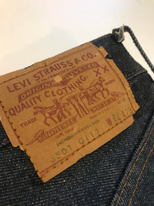 1970s Levi's 501 Rodeo Clown Big E Display Denim Jeans W 54