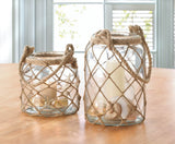 Small Fish Net Wrap Glass Candle Lantern