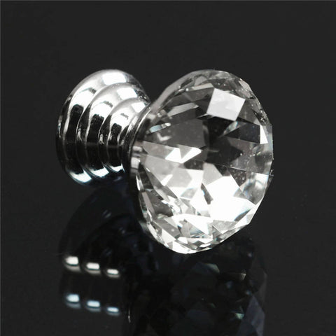 10PCS Newest Crystal+Zinc Alloy Durable 10Pcs Diam 20mm Round Crystal Glass Cabinet Knobs Drawer Furniture Pull Handle