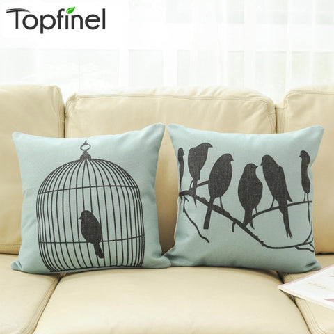 Top Finel 2016 Decorative Bird throw Pillows Case Linen Cotton Cushion Cover Creative Decoration for Sofa Car covers 45X45cm