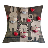 Cushion Cover Valentine's Day Love Printed 17x17'' Linen&Polyester