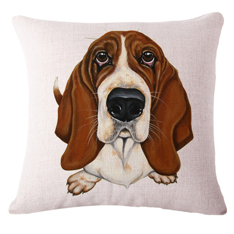 Cute Animals Pet Dog Pattern Cushion Cover For Sofa Home Decor Almofadas 45X45cm Decorative Throw Pillows Case IN STOCK