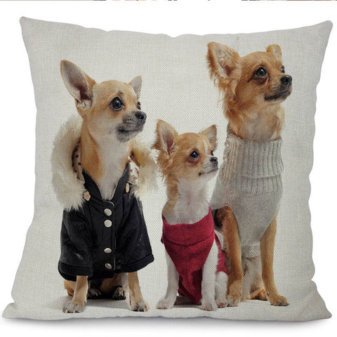 "Miracille 18""Cartoon Animal Pattern Printed Waist Cushion Cover Lovely Puppy Cotton Linen Home Car Decoration Throw Pillow Case"