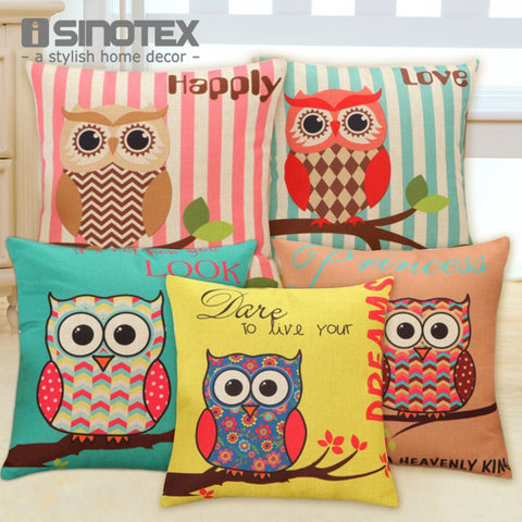 Lovely Owl Cushion Cover Polyester&Linen Decorative Throw Pillow Digital Printing  43x43cm Sofa Decor