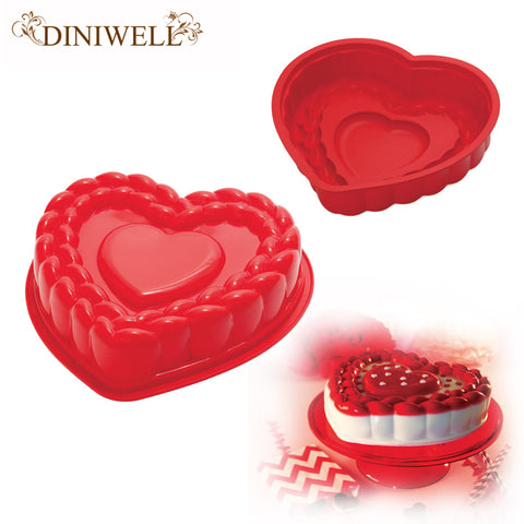 DINIWELL Bakeware & Tools Baking Pastry Mould Valentine Heart Design Silicone Cake Mold