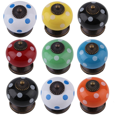Cute Retro Dot Ceramics Drawer Knob Cabinet Cupboard Door Pull Handle Decor New Worldwide Store