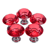 5pcs Knobs 30mm Clear Crystal Glass Door Handles Diamond Drawer Cabinet Furniture Kitchen Knob with screws