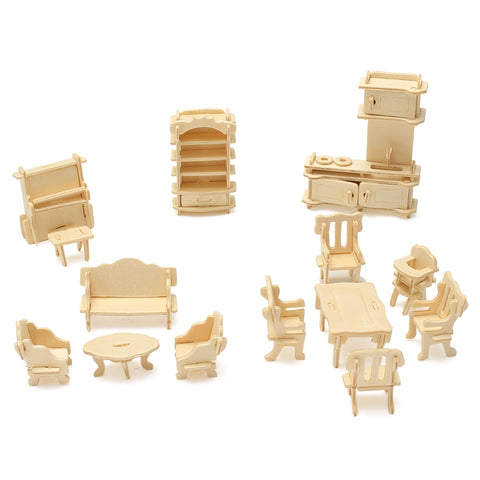 KiWarm 34Pcs 3D DIY Wooden Miniature Dollhouse Furniture For Dolls Building Model Unpainted Suite Toys DIY For Kids Gift Craft