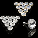 10PCS Round Pull Handle Glittering Rhinestone Knob for Cupboard Drawer Golde Silver