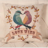 High Quality Dustproof Natural Vintage Thicken Cotton Linen Cute Animal Flower Bird Printed Sofa Cushion Decorative Throw Pillow