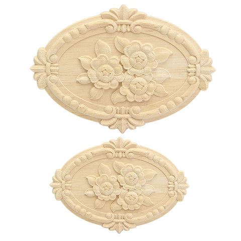 Newest Arrival Unpainted Wood Carved Decal Corner Onlay Applique Frame For Home Furniture Wall Cabinet Door Decor Crafts 2 Sizes