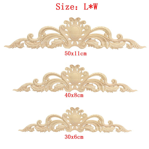 Fashionable Flower Wood Carved Onlay Decal Corner Applique for Home Furniture Cabinet Door Decor Decorative Ornament 3 Size