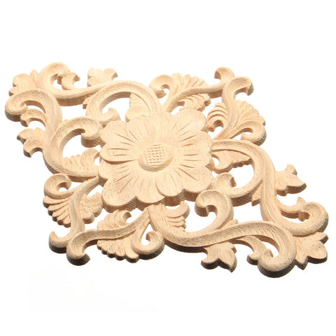 Modern tVertical Floral Wood Carved Decal Corner Applique Woodcarving Onlay Sculptures For Home Furniture Cabinet Decor 21x15cm