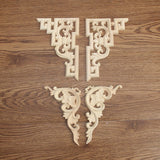 Exquisite 2Pcs/set Retro Wood Carved Decal Corner Onlay Applique Frame for Home Door Cabinet Furniture Decorative Crafts 2 Type